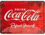 Blechschild 15X20 Coca Cola Logo Red Refresh Yourself